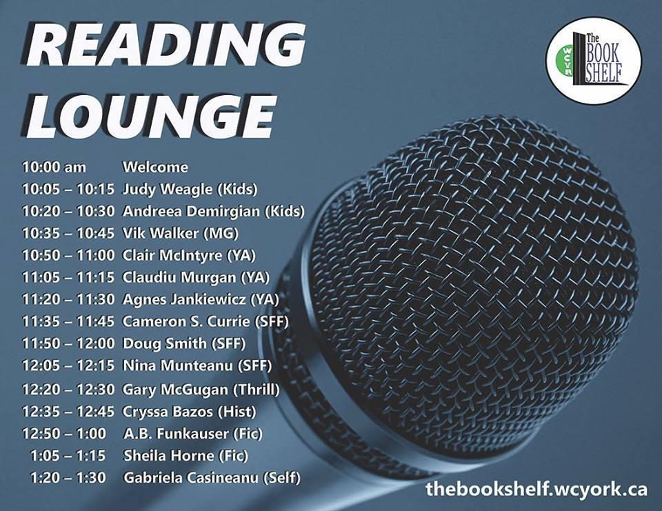 A list of authors featured in the Reading Lounge at The Bookshelf